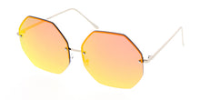4297REV Women's Metal Oversize Rimless Octagon Frame w/ Spectrum Color Mirror Lens