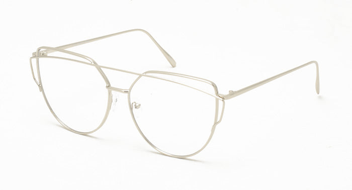 4309CLR Women's Metal Wire Brow Frame w/ Color Mirror Lens