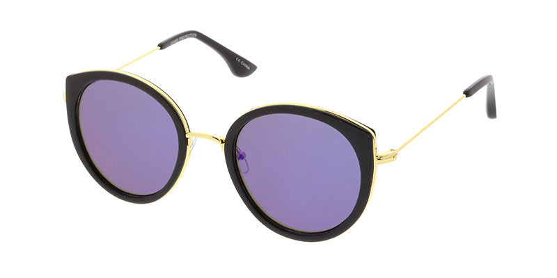 4314RV Women's Combo Frame Round Cat Eye w/ Color Mirror Lens