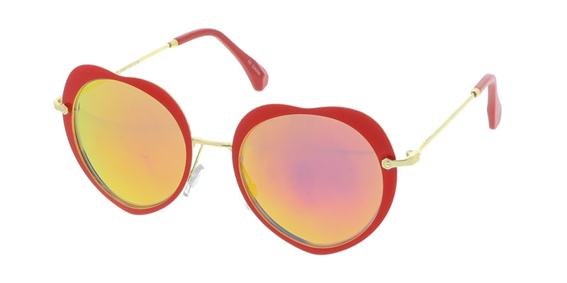 4316REV Women's Metal Heart Frame w/ Spectrum Color Mirror Lens
