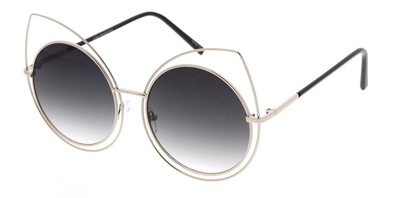 4328 Women's Metal Oversize Double Wire Round Cat Eye Frame