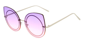 4332COL Women's Metal Large Flat Cat Eye w/ Two Tone Lens