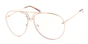 4355CLR Unisex Metal Aviator Clear Lens