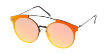 4381REV Women's Metal Round Rimless Flat Frame w/ Spectrum Color Mirror Lens