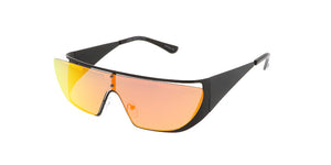 4383REV Unisex Metal Futuristic Wrap W/ Color Mirror Lens