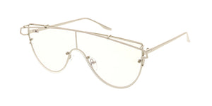 4425CLR Unisex Metal Rimless Shield w/ Clear Lens