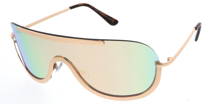 4431RV Unisex Metal Large Rimless Shield w/ Color Mirror Lens