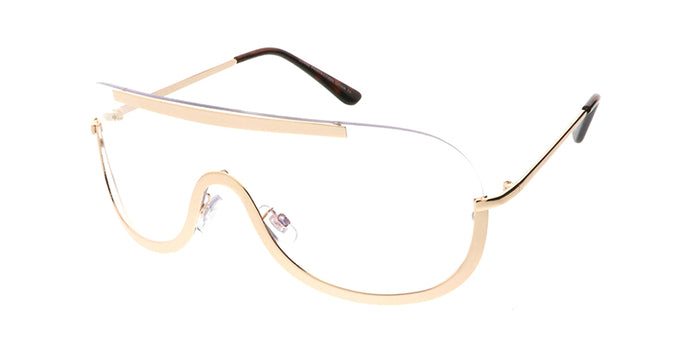 4432CLR Unisex Metal Large Rimless Shield w/ Clear Lens