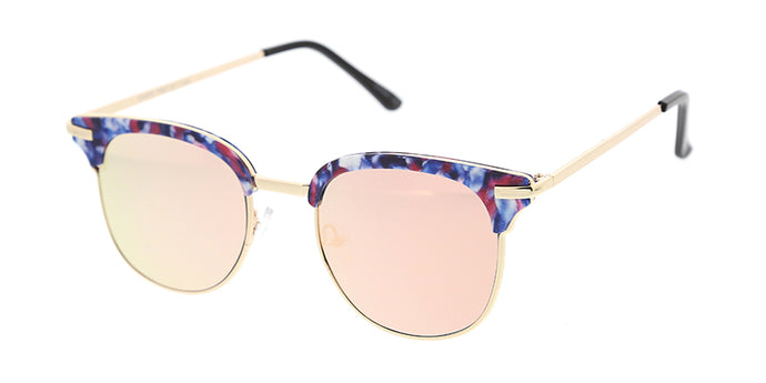 4466RV Women's Combo Medium Multi-Color Printed Clubber Frame w/ Color Mirror Lens