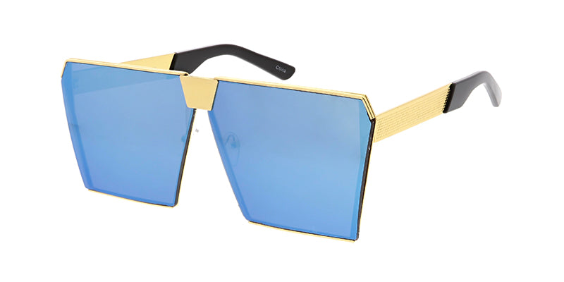 4478RV Unisex Metal Oversize Square Frame w/ Color Mirror Lens