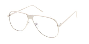 4482CLR Unisex Metal Modified Aviator w/ Clear Lens