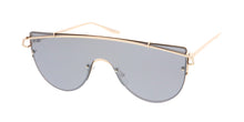 4529RV Women's Metal Large Futuristic Top Brow Shield Frame w/ Color Mirror Lens