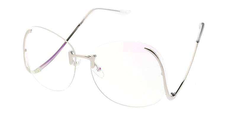 4535CLR Women's Large Metal Rimless Clear Lens