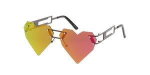 4541HRTRV Women's Metal Medium Rimless Heart Shape Frame w/ Color Mirror Lens