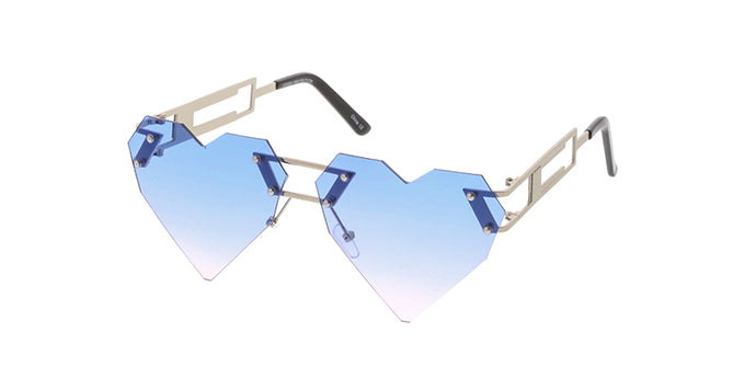 4542HRT/COL Women's Metal Medium Rimless Heart Shape Frame w/ Two Tone Lens