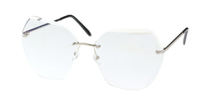 4556CLR Women's Metal Large Geometric Rimless Diamond Cut Clear Lens