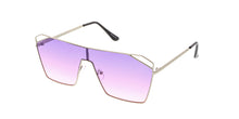 4577COL Women's Metal Large Rectangular Shield w/ Color Gradient Lens