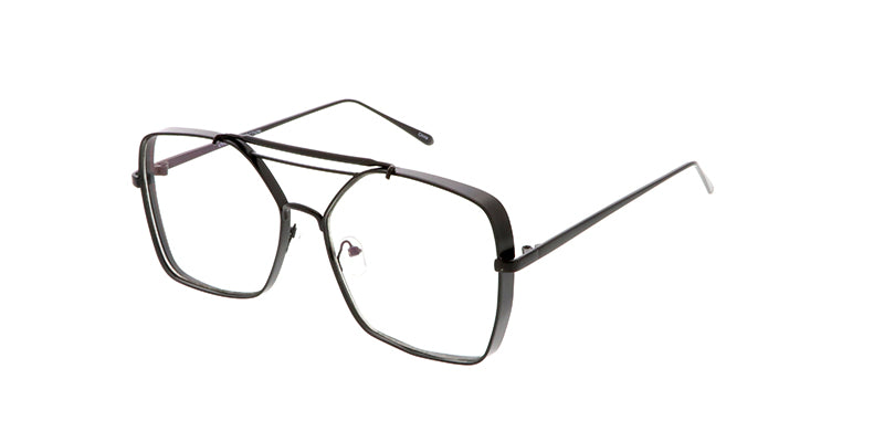 4594CLR Unisex Metal Large Rectangular Thick Frame Blue Light Filtering Clear Lens Computer Glasses