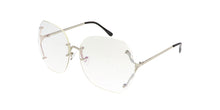 4597CLR Women's Metal Oversized Vintage Inspired Rimless Computer Glasses Blue Light Filtering Clear Lens