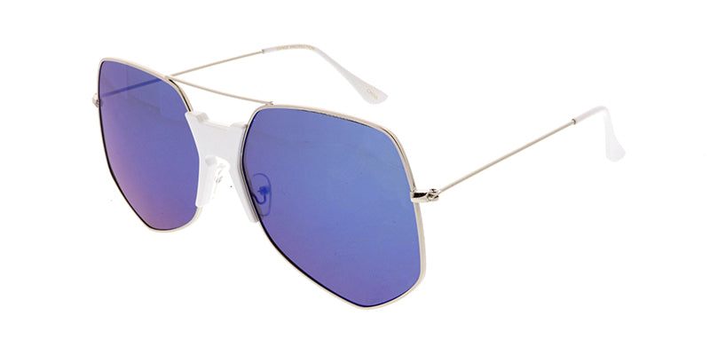 4600RV Unisex Extra Large Geometric Metal Aviator w/ Color Mirror Lens