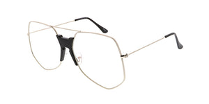 4601CLR Unisex Extra Large Geometric Metal Aviator Clear Lens