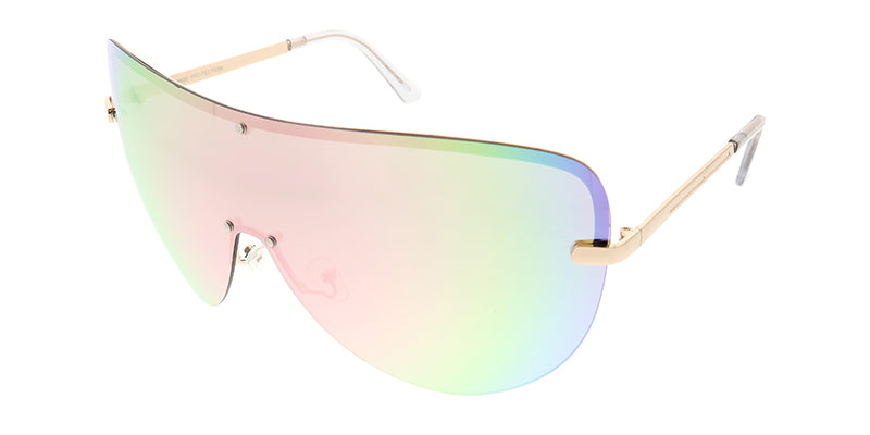 4603RV Women's Metal Oversize Shield w/ Color Mirror Lens