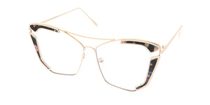 4608CLR Women's Metal Oversize Accented Frame Blue Light Filtering Clear Lens Computer Glasses