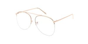 4612CLR Women's Metal Oversized Single Bridge Tear Drop Blue Light Filtering Clear Lens Computer Glasses