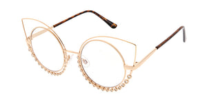 4622CLR/RH Women's Wire Cat Eye Rhinestone Frame w/ Clear Lens