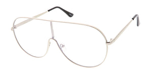 4630CLR Unisex Metal Shield Aviator w/ Clear Lens
