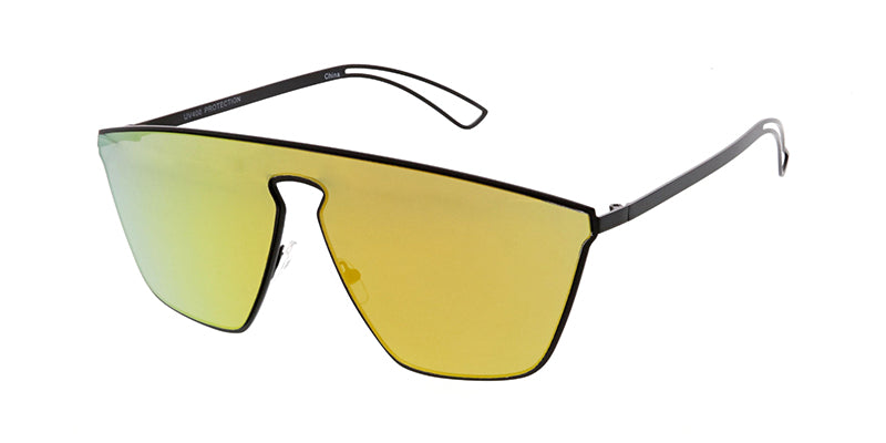 4632RV Unisex Futuristic Metal Shield w/ Color Mirror Lens
