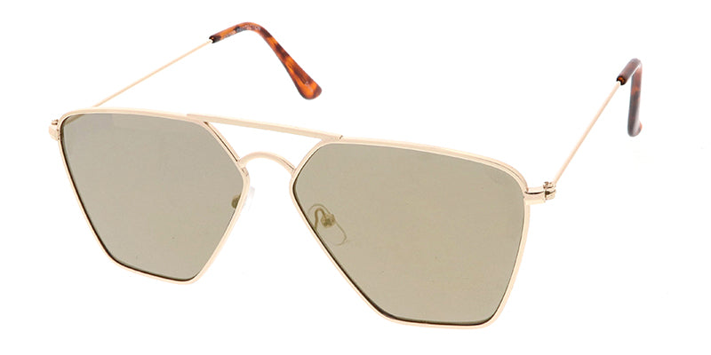 4636RV Unisex Metal Geometric Aviator w/ Color Mirror Lens
