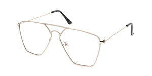 4637CLR Unisex Metal Geometric Aviator Blue Light Filtering Clear Lens Computer Glasses