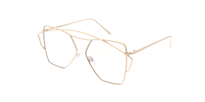 4642CLR Women's Metal Large Geometric Wire Frame Blue Light Filtering Clear Lens Computer Glasses
