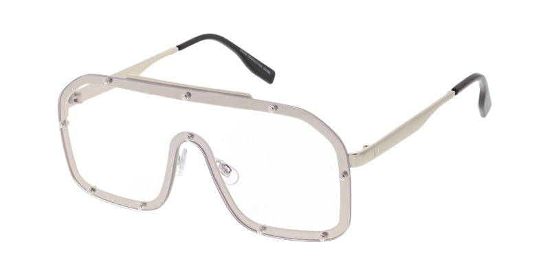 4652CLR Women's Metal Large Rimless Shield w/ Clear Lens