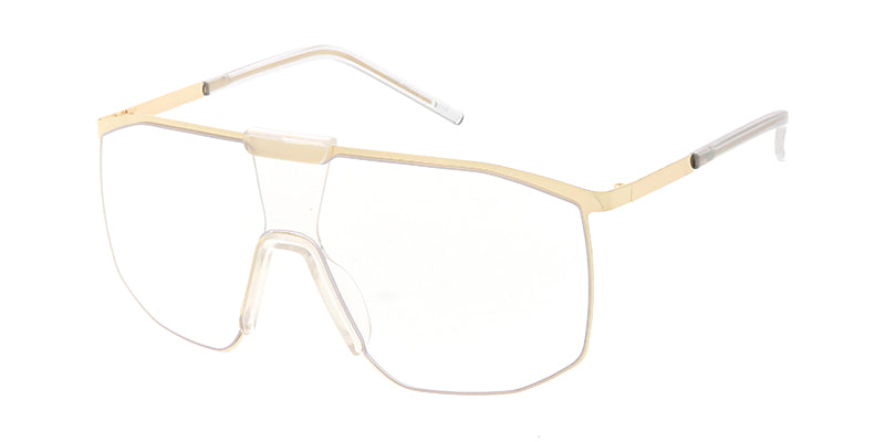 4656CLR Unisex Metal Large Shield w/ Clear Lens