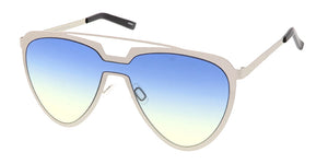 4659COL Unisex Futuristic Metal Shield w/ Two Tone Lens