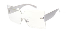 4663CLR Women's Large Square Diamond Cut Rimless Shield w/ Clear Lens