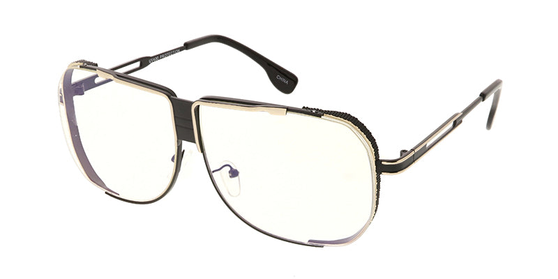4666CLR Unisex Metal Square Frame w/ Clear Lens