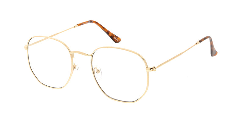 4677CLR Unisex Classic Metal Rounded Square Medium Frame w/ Clear Lens