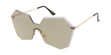 4682RV Women's Large Geometric Diamond Cut Shield w/ Color Mirror Lens