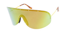 4687RV Unisex Metal Oversized Studded Shield w/ Color Mirror Lens