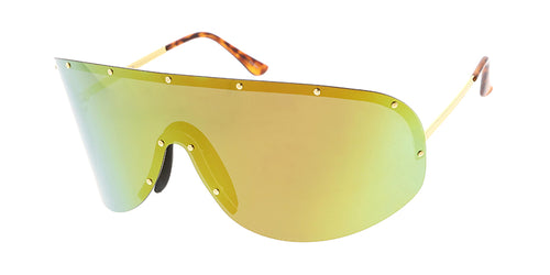 a0d8316456 4687RV Unisex Metal Oversized Studded Shield w  Color Mirror Lens