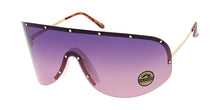4688COL Women's Oversized Metal Studded Rimless Shield w/ Two Tone Lens