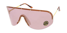 4689COL Women's Oversized Metal Studded Rimless Shield w/ Color Lens