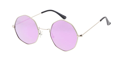 49e3367114 4702REV Unisex Metal Small Octagonal Wire Vintage Inspired Hipster Frame w   Spectrum Color Mirror Lens