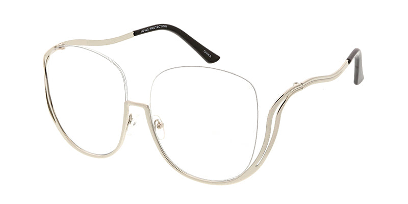 4707CLR Women's Metal Drop Temple Vintage Inspired Frame w/ Clear Lens