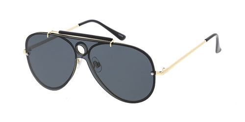 4714 Unisex Metal Standard Rimless Shield Aviator