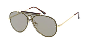 4715RV Unisex Metal Standard Rimless Shield Aviator w/ Color Mirror Lens