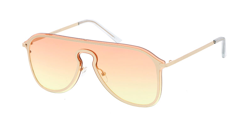 4719COL Unisex Metal Medium Shield Frame w/ Two Tone and Color Lens
